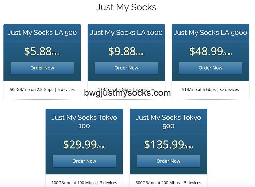 Just My Socks方案页面