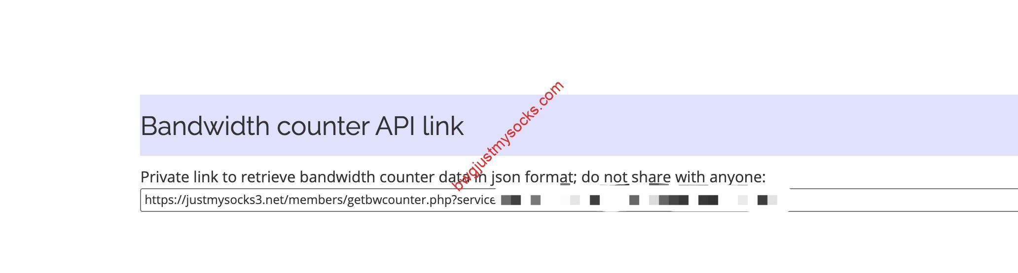 Just My Socks Bandwidth counter API link